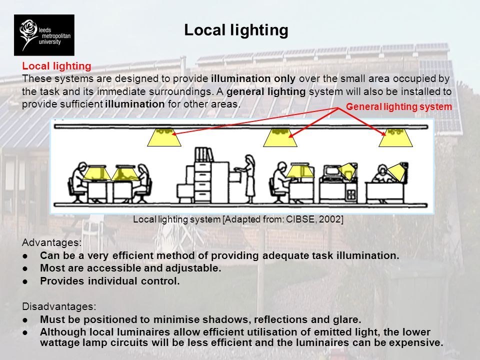 Local lighting system [Adapted from: CIBSE, 2002]